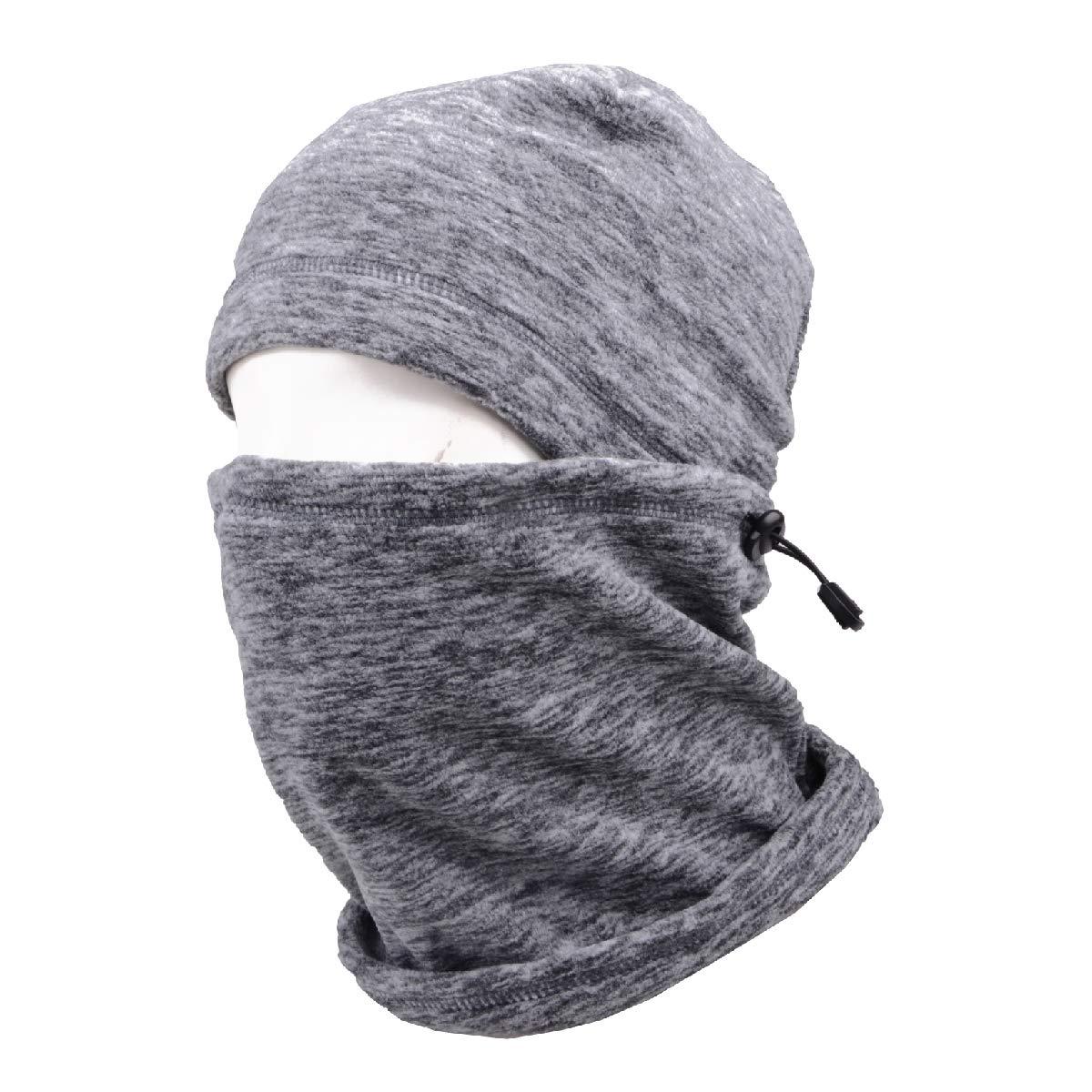 TRIWONDER Pasamontañas Sombrero de Campana Sombrero Polar Térmico Máscara Facial Cuello Calentador Invierno Máscara de esquí Cubierta de Rostro Completo Cap (Gris - 17) OS1710GY