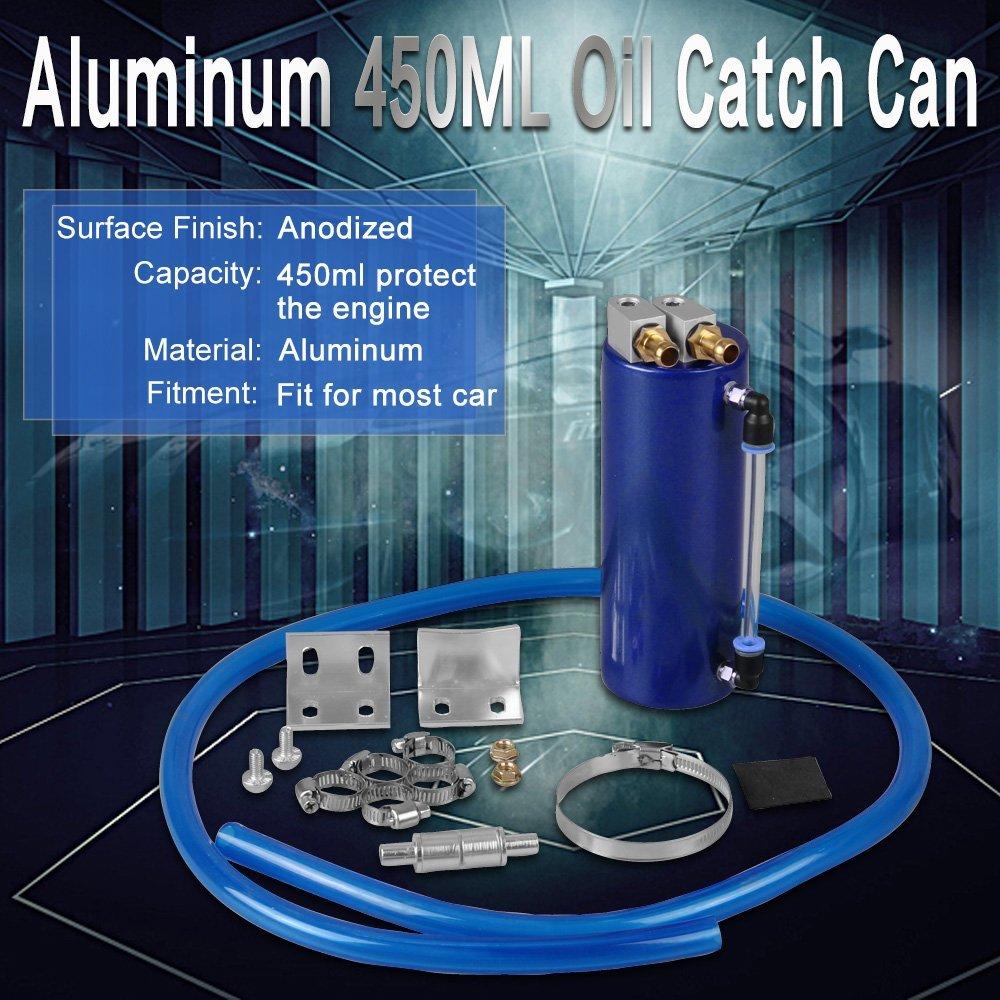 Amazon.com: RYANSTAR Universal Aluminum Racing Engine Oil Catch Tank CAN Kit Turbo Reservoir Billet Round 450ML Blue: Automotive