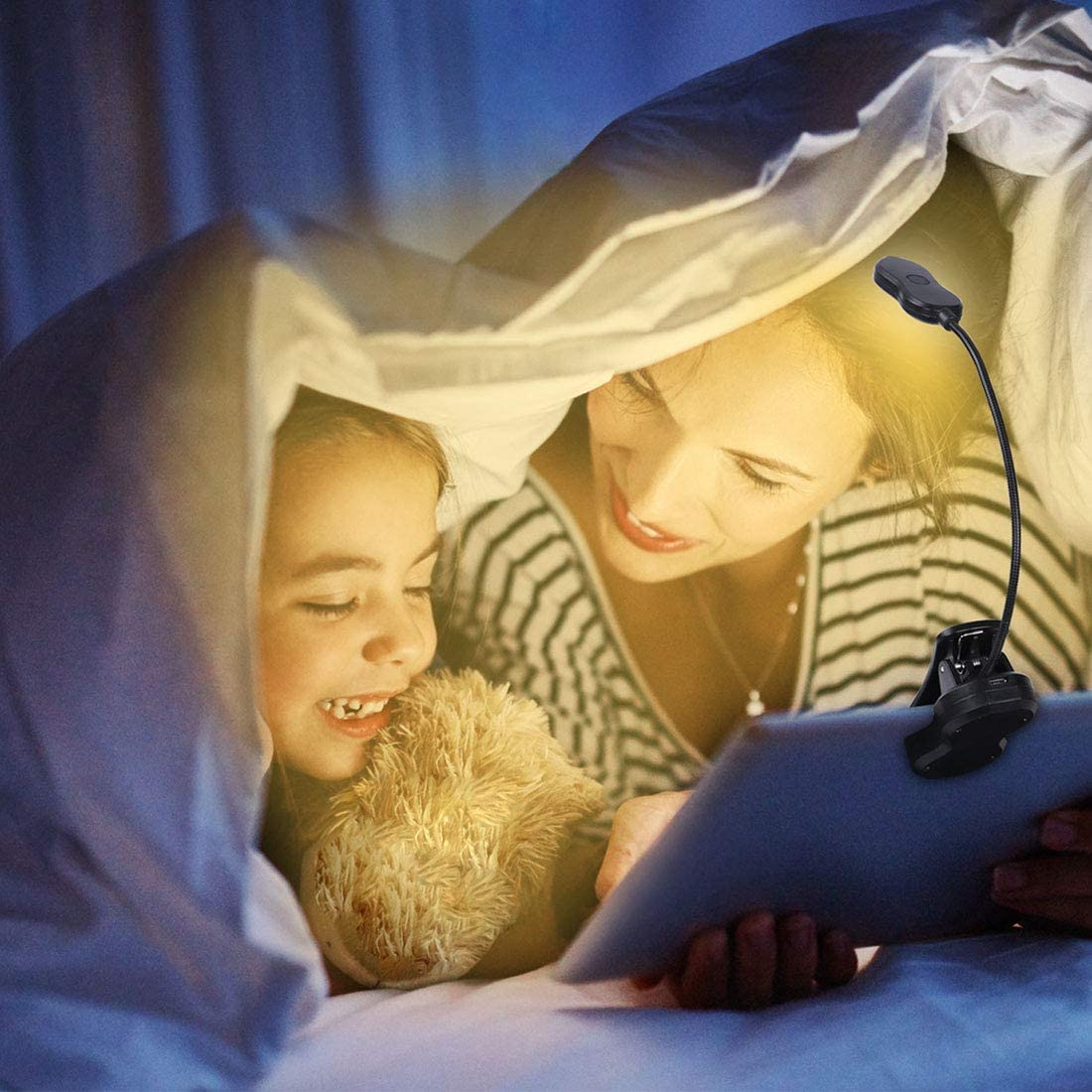 Rechargeable LED Book Light, 2 Warm & 3 White SMD LED, Color and Brightness Adjustable, Clip on Reading Lights for Reading in Bed at Night, 9 Brightness Levels, Lightweight, Ideal for Bookworms, Pian: Home Improvement
