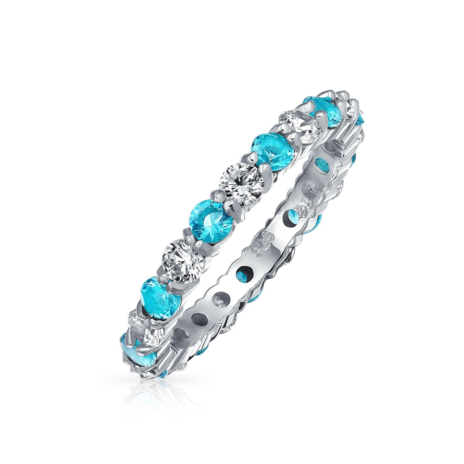 Two Tone Eternity Band Ring Clear and Simulated Aquamarine CZ Stackable 925 Silver