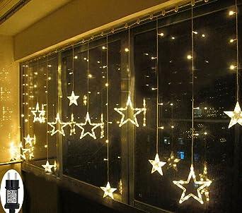 Led Fenster Weihnachtsbeleuchtung.Led Lichterkette Sterne Für Weihnachten Innen Fenster Mit Timer Fernbedienung 31v Lichterketten Warmweiß 8 Modi Weihnachtsbeleuchtung Außen