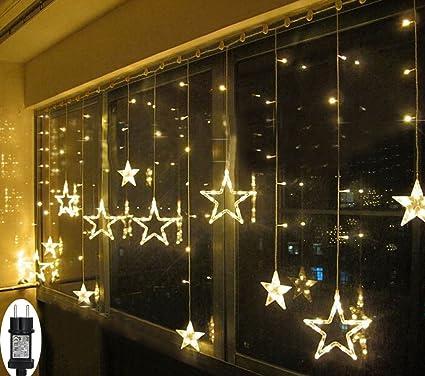 LED Lichterkette Sterne für Weihnachten Innen Fenster mit Timer Fernbedienung 31V Lichterketten Warmweiß 8 Modi Weihnachtsbel