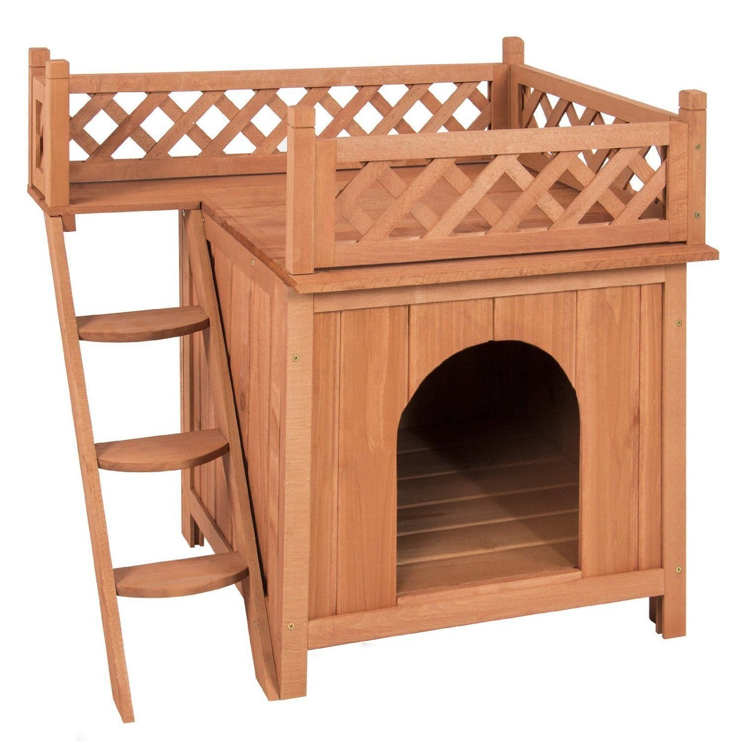 Rhomtree Wood Pet Dog Cat House with Stairs Puppy Room Raised Roof and Balcony Bed Indoor Outdoor Pet Home
