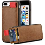 """iPhone 8 Plus Wallet Case, iPhone 7 Plus Leather Case, LAMEEKU Protective iPhone 7 Plus Card Holder cases with Credit Card Slot & Money Pockets, Cover for iPhone 7 Plus/ 8 Plus 5.5"""" Brown"""