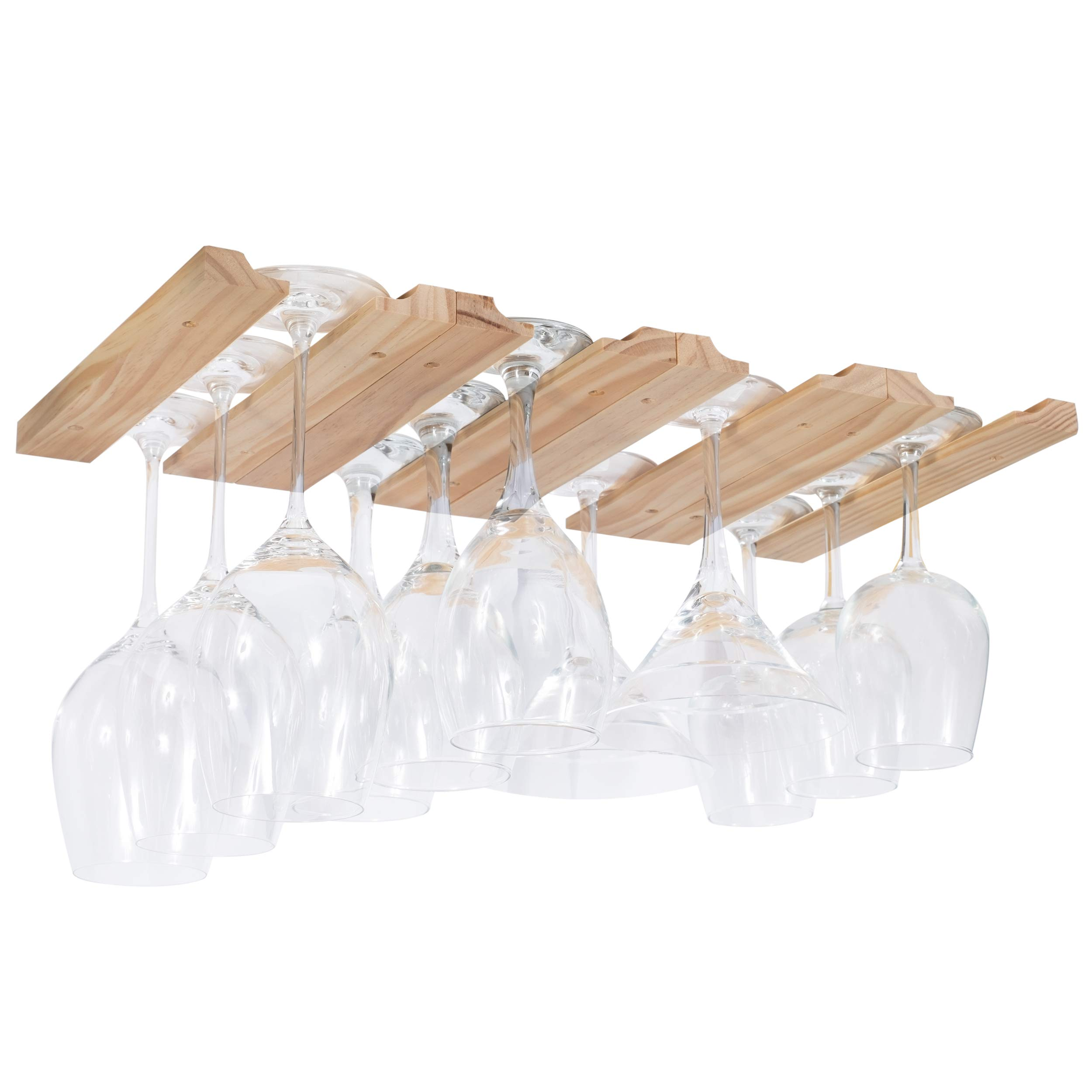 Rustic State Under Cabinet Wooden Hanging Wine Glass Holder by ArtifactDesign Adjustable 4-Sectional Stemware Storage Rack Natural