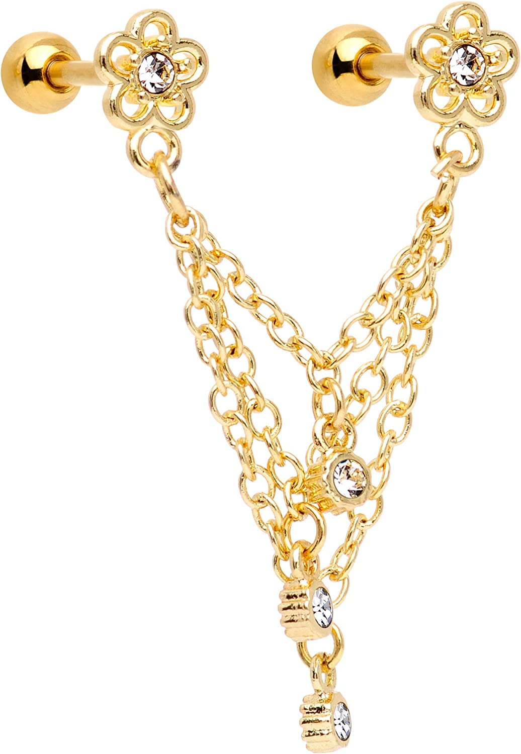 """Body Candy 16G Gold PVD Steel 1/4"""" Clear Accent Flower Cartilage Chain Earring Double Piercing for Women 6mm"""