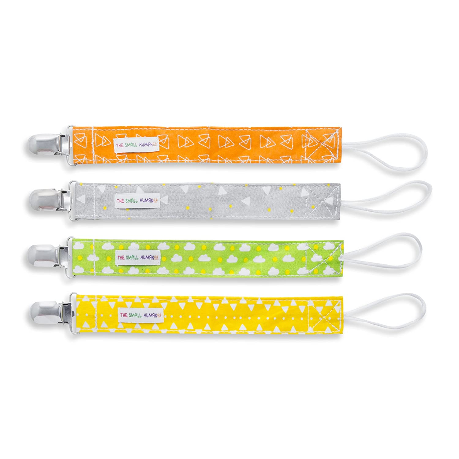 Baby Dummy Clip Set - 4 x Unisex Designs for Soother/Pacifier + Boys/Girls The Small Human Company
