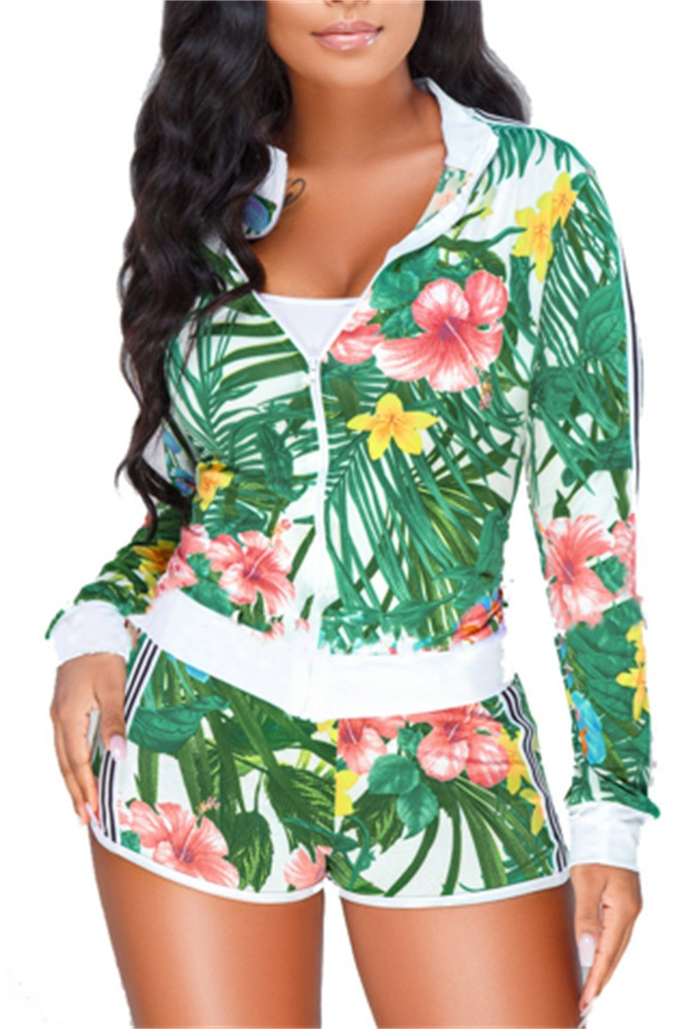 Shinfy Women's 2 Piece Outfits Deep V-Neck Floral Print Jacket with Short Pants Playsuits