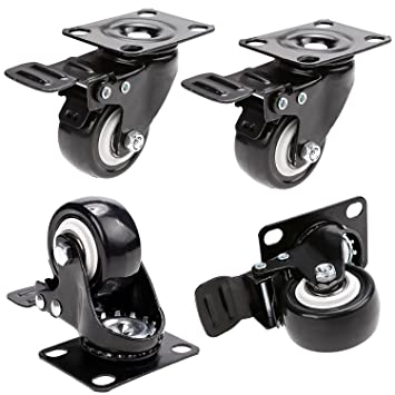 Herenear 50mm Ruedas Pivotantes ruedas giratorias para Muebles con Carga Mayor de 400Kg Set de 4 Ruedas de Hierro con Freno de Goma Negro (type 1): ...