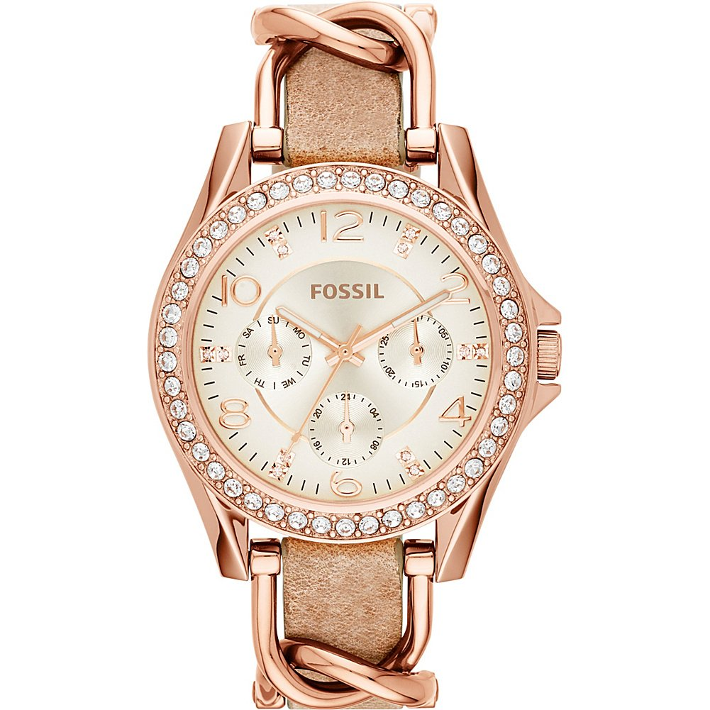Fossil Women's ES3466 Riley Rose Gold-Tone Stainless Steel and Leather Watch with Crystal Accents by Fossil