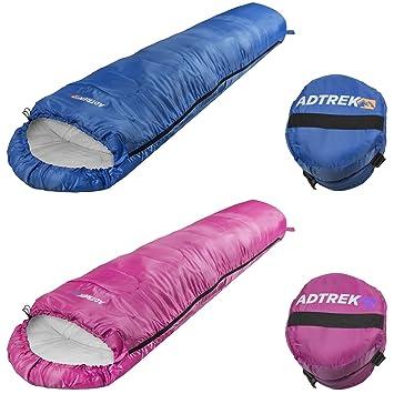 Saco de dormir Adtrek Junior niños y niñas niños/niñas saco de dormir para acampar 2 – 3 temporada, azul: Amazon.es: Deportes y aire libre