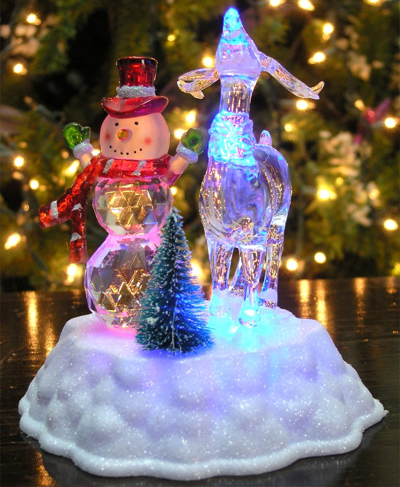 amazoncom banberry designs snowman christmas decoration led light up snowman and reindeer figurine acrylic holiday garden outdoor - Led Light Christmas Decorations