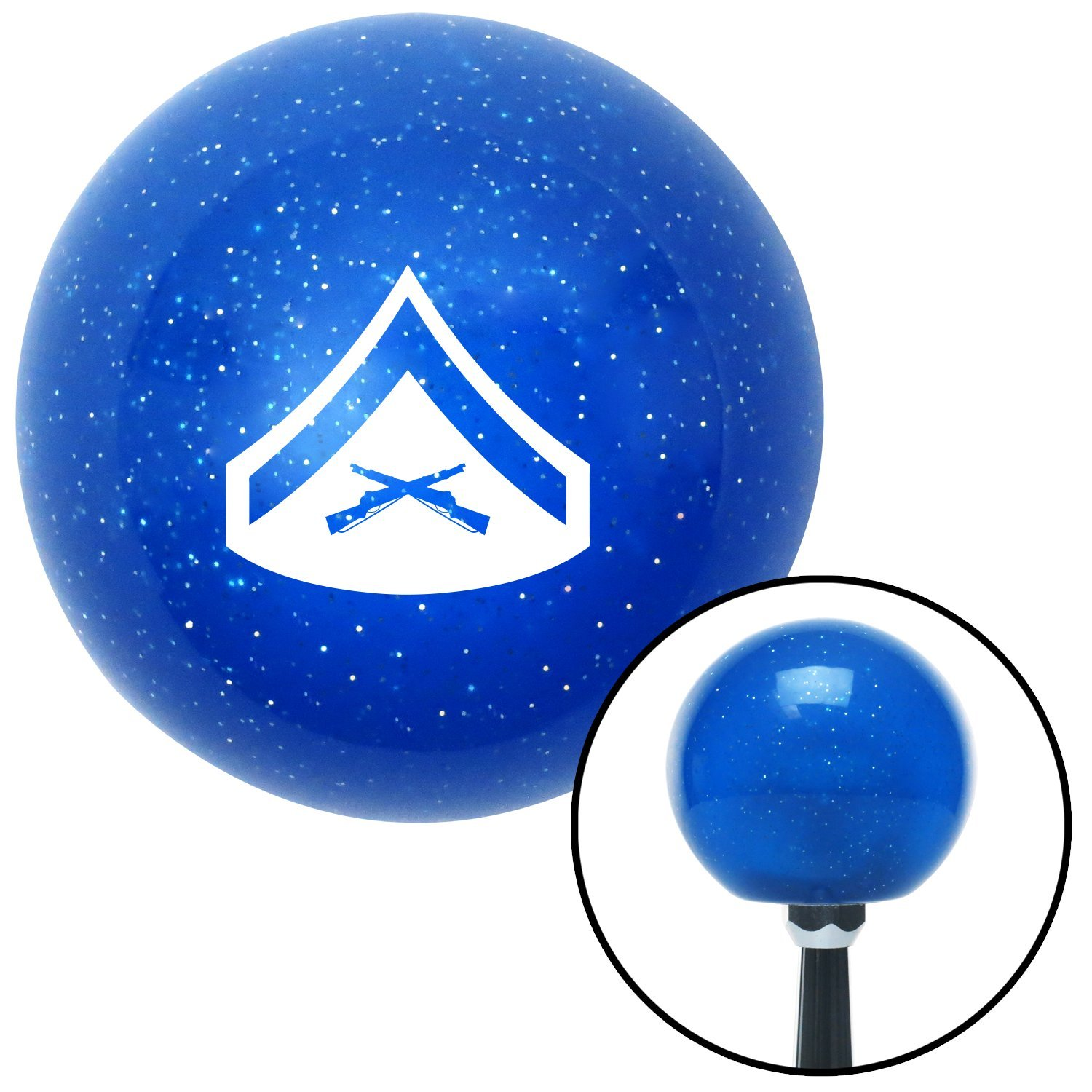 White 02 Lance Corporal American Shifter 26327 Blue Metal Flake Shift Knob
