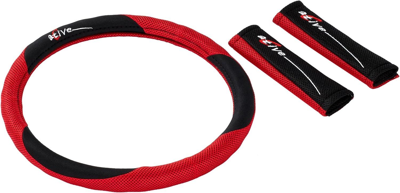 Funda para Volante y Almohadilla para Cinturones de Seguridad Unitec 75400 Active Color Rojo