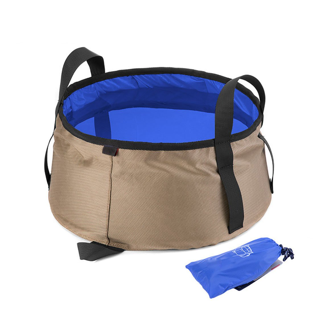 ALXDR Portable Washbasin Outdoor Water Bucket For Camping Travel Multi-Purpose Water Container Pail Silica Gel Waterproof, Large Capacity, 10L,Blue