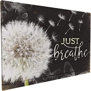 Just Breathe Wall Art Rustic Dandelion Canvas Black And White Flower Floral Painting Botanic Picture Giclee Matte Prints Home Decor For Kitchen Bedroom Living Room Bathroom 16x24 Inch
