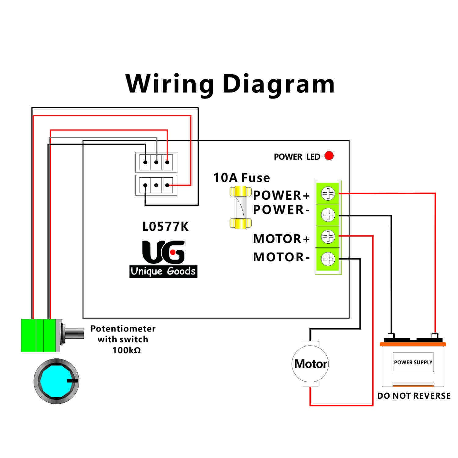 Uniquegoods 12v 24v 36v 48vdc 20a 500wmax pwm dc motor speed for Dc motor control circuit diagram