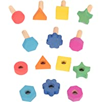 TickiT Rainbow Wooden Nuts & Bolts - Set of 14-7 Nuts and 7 Bolts in Matching Shapes & Colors - For Ages 12m+ - Loose…