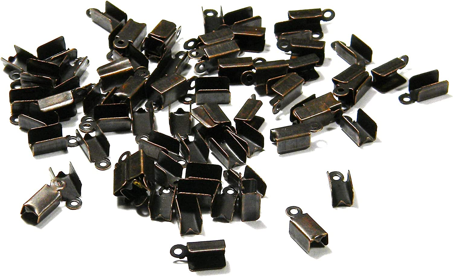 100 Big Antique Copper Fold Style Crimp Tube Bead Tips with Hole for Jewelry