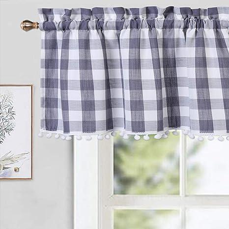 Cafe Curtain Window Valance RuffledWindow TreatmentKitchenKids Nursery,Children Playroom Bathroom Curtain Panel--Buffalo Check,FREE GIFT