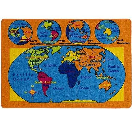 Amazon Com Kids Rug World Map Area Rug 5 X 7 Children Area Rug