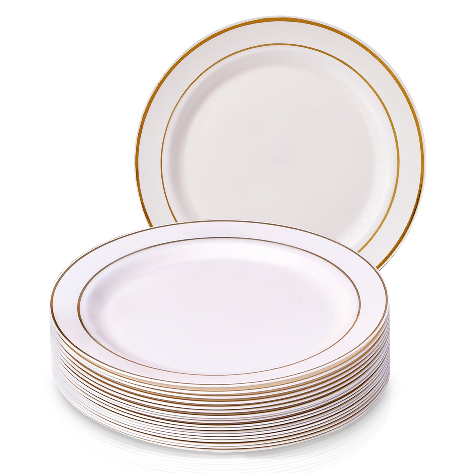 PARTY DISPOSABLE 20 PC DINNERWARE SET | 20 Dinner Plates | Heavyweight Plastic Dishes | Elegant Fine China Look | Upscale Wedding and Dining (Golden Glare Collection– Ivory/Gold Border | 10.25 Inch)