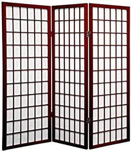 Oriental Furniture 4 ft. Tall Window Pane Shoji Screen - Rosewood - 3 Panels