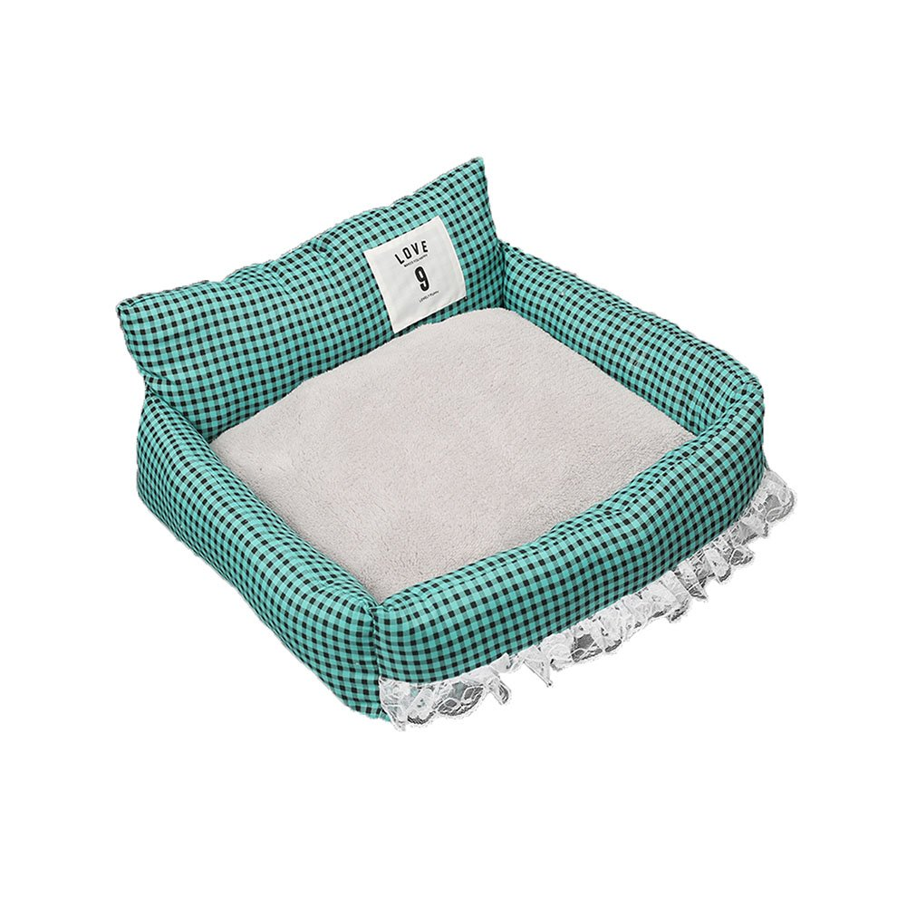 Green FH Pet Kennel Summer Mat Kennel Ice Silk Mat Kennel Washable Cat Nest Four Seasons Pet Waterloo Princess Style Bed Dog,cat Houses