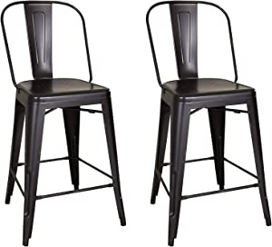 Liberty Furniture Industries Vintage Series (Set of 2) Bow Back Counter Chair, W21 x D22 x H43, Black