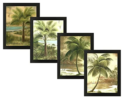 amazon com 4 framed palms scenic beach ocean jenkins palm trees art