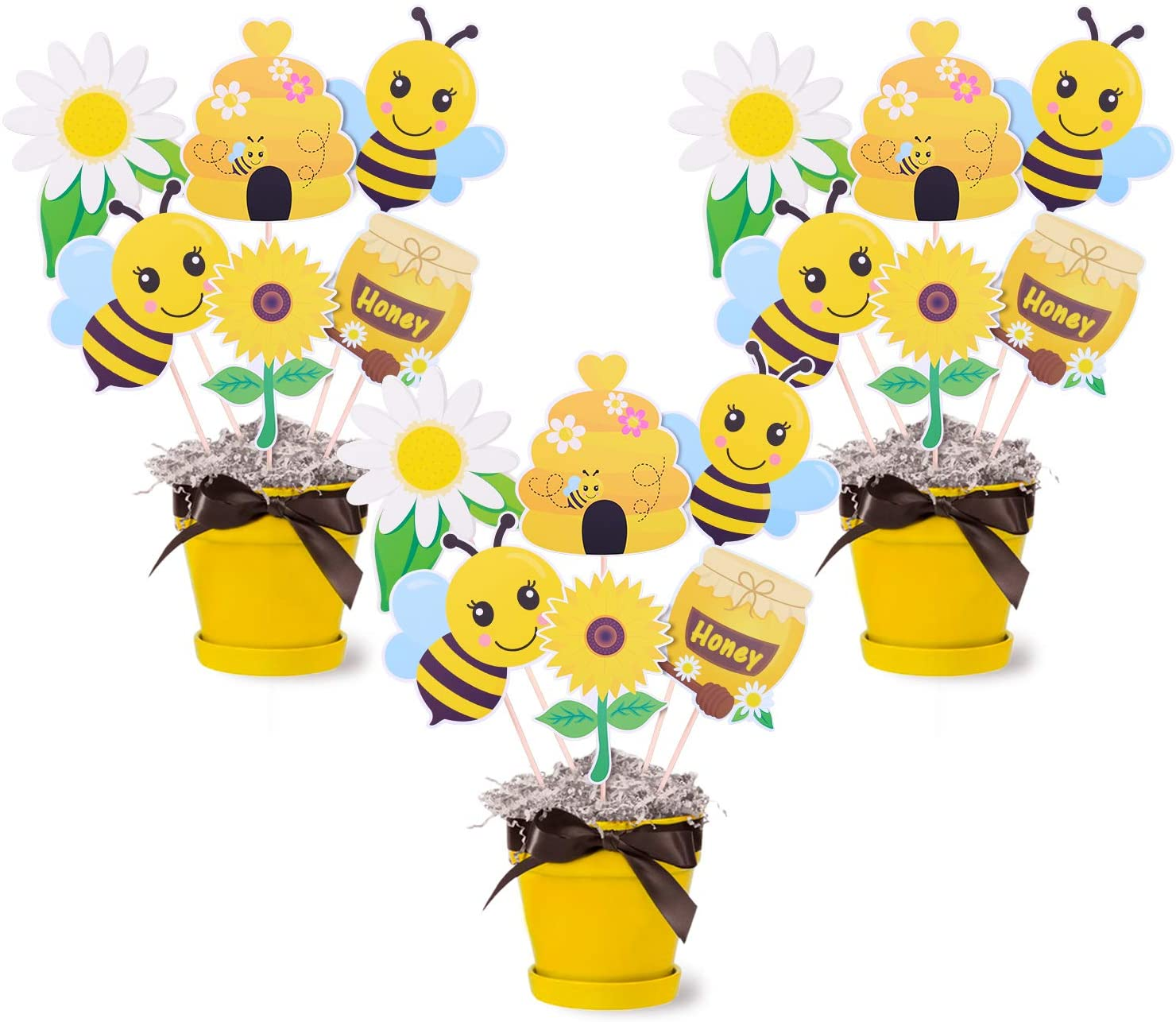 Bumble Bee Party Centerpieces Honey Bee Baby Shower Table Centerpieces Sticks Bee Gender Reveal Birthday Party Photo Props Table Topper Decorations Set of 18
