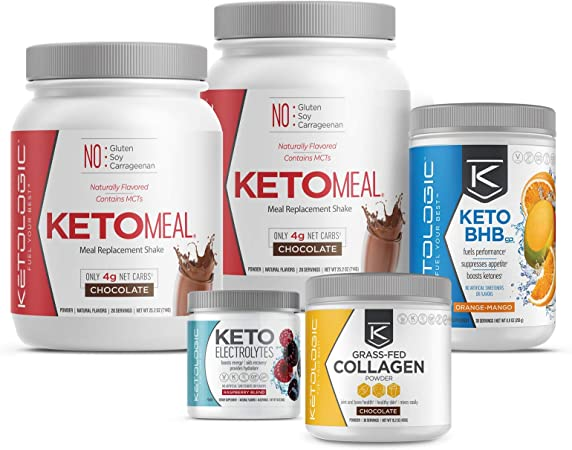 KETOLOGIC Keto 30 Challenge Premium Bundle: 30-Day Supply Keto Meal Replacement Shakes with MCT & BHB Exogenous Ketones Powder | Includes Keto Electrolytes & Collagen for Additional Health Benefits