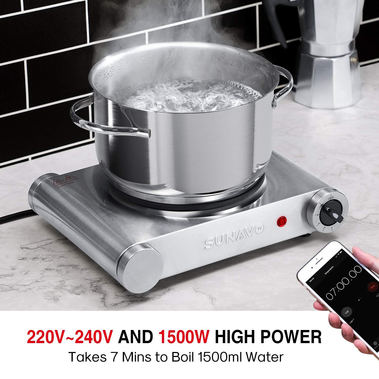 SUNAVO Hornillo Electrico Portatil, Placa eléctrica, una Hornilla 1500W, Cocina eléctrica, Cocinas