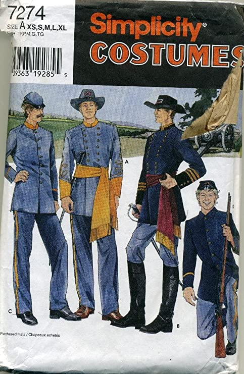 Amazoncom Simplicity Mens And Teens Civil War Costumes 7274 Home