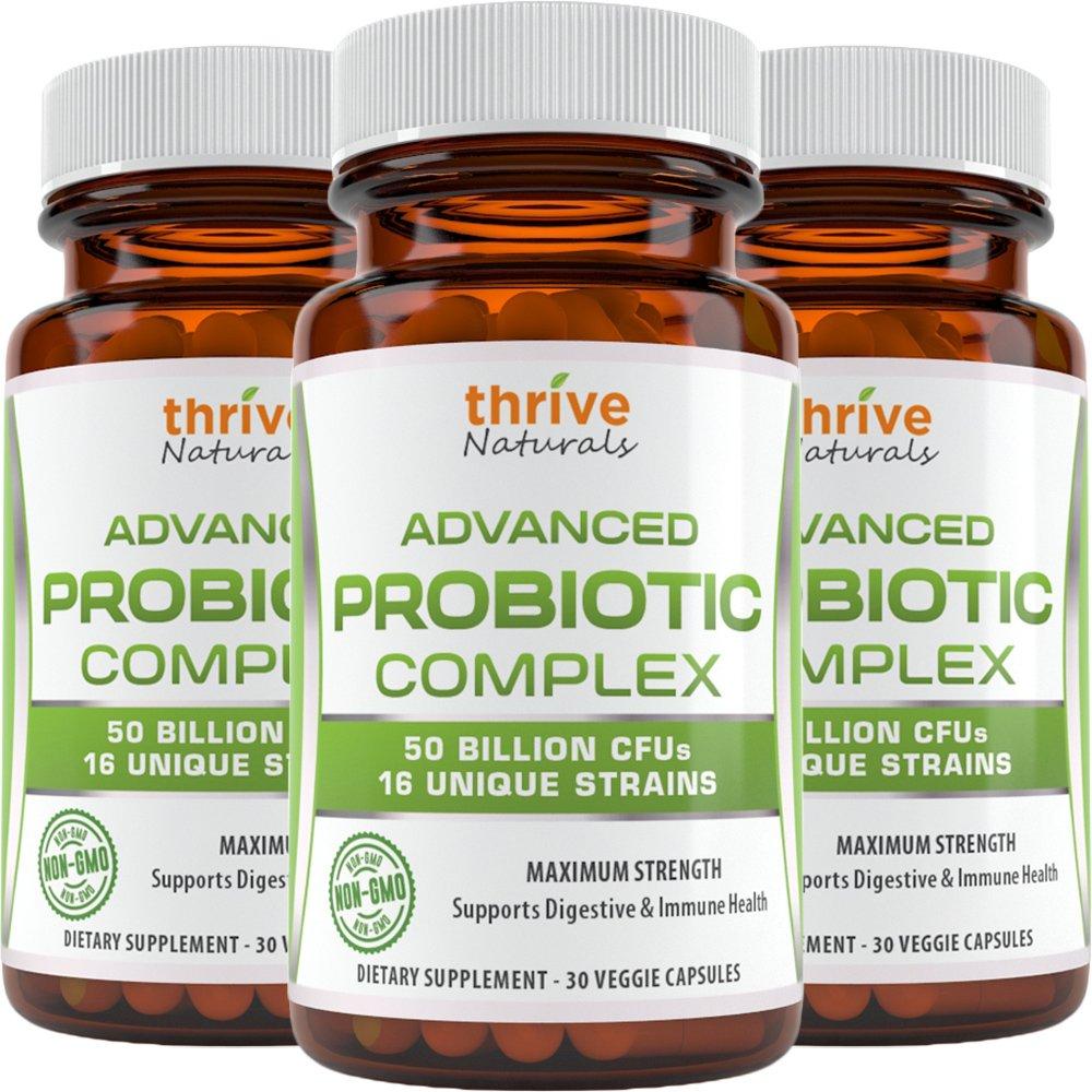 Thrive Naturals Advanced Probiotic Complex 50 Billion CFU's 16 Unique Strains - Supports Digestive & Immune Health (3 Pack)