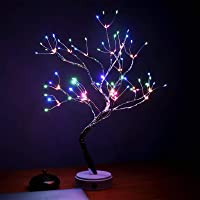 AMARS 20 Inch Bonsai Tree Night Lights Bedroom Living Room 108 LED Table Desk Lamp Decoration, Colored, Ideal as Home…