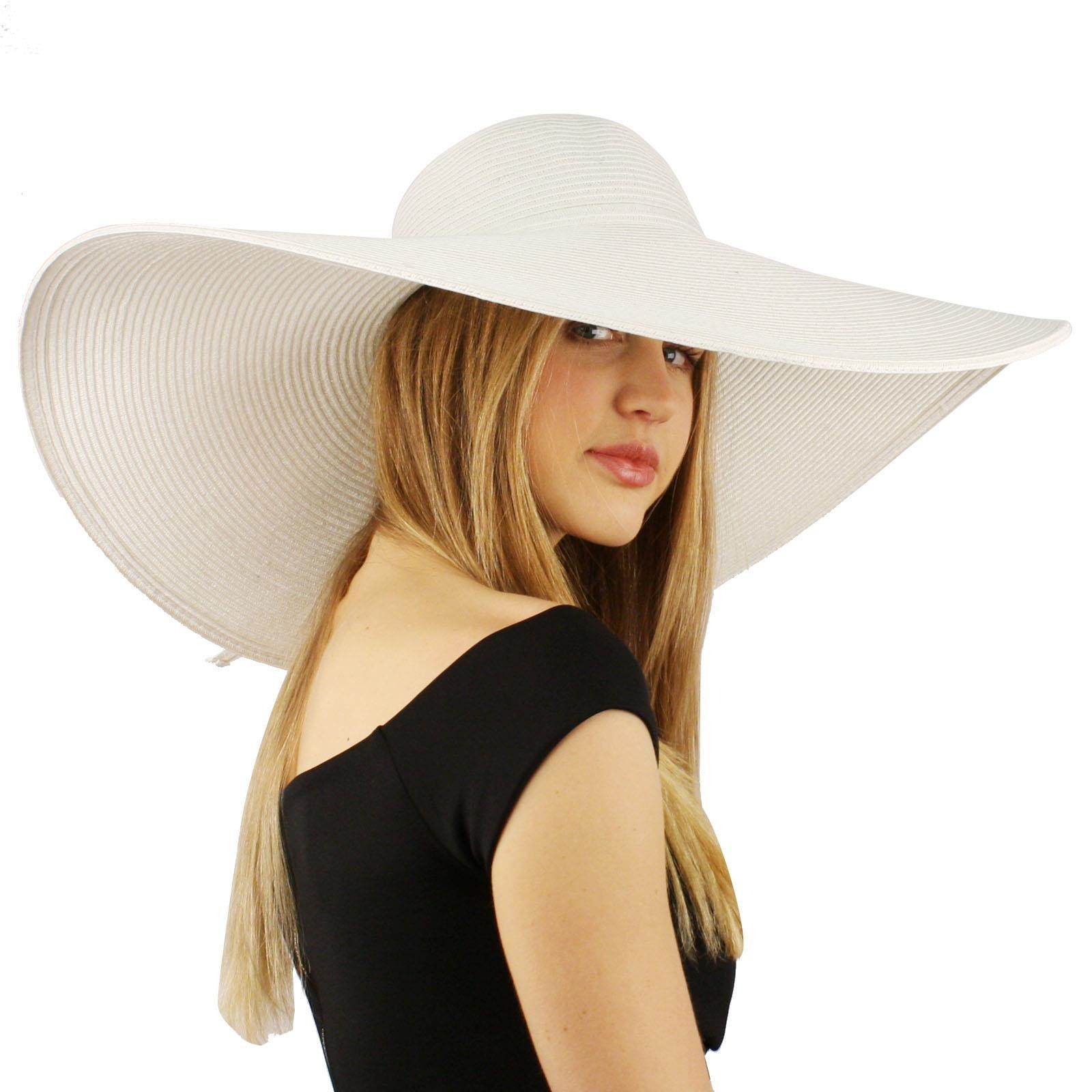 Summer Elegant Derby Big Super Wide Brim 8'' Brim Floppy Sun Beach Dress Hat White