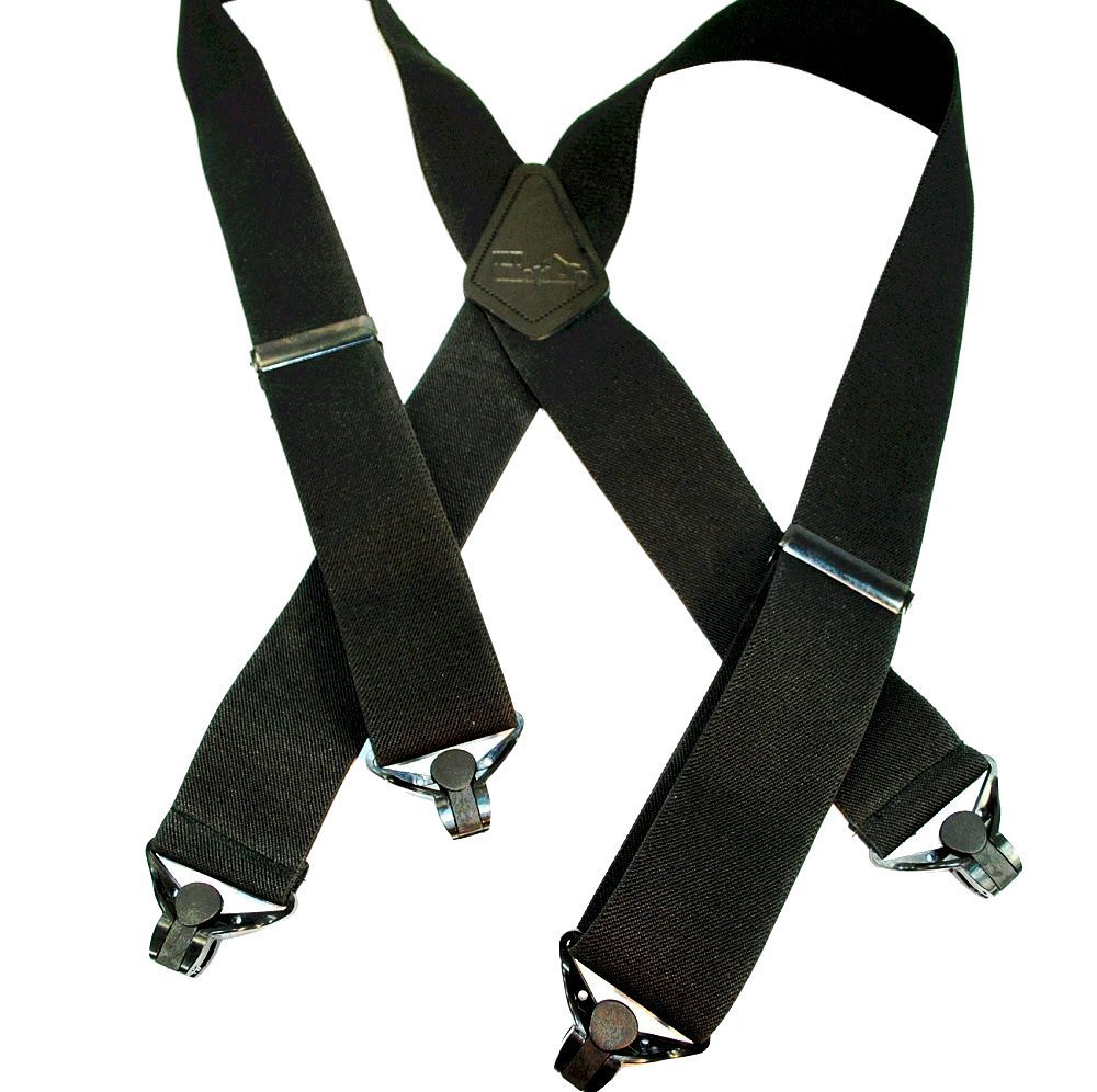 Outdoorsman Series HoldUp brand XL Shadow Black Heavy Duty Work Suspenders 2 inch wide with Black Patented Gripper Clasps