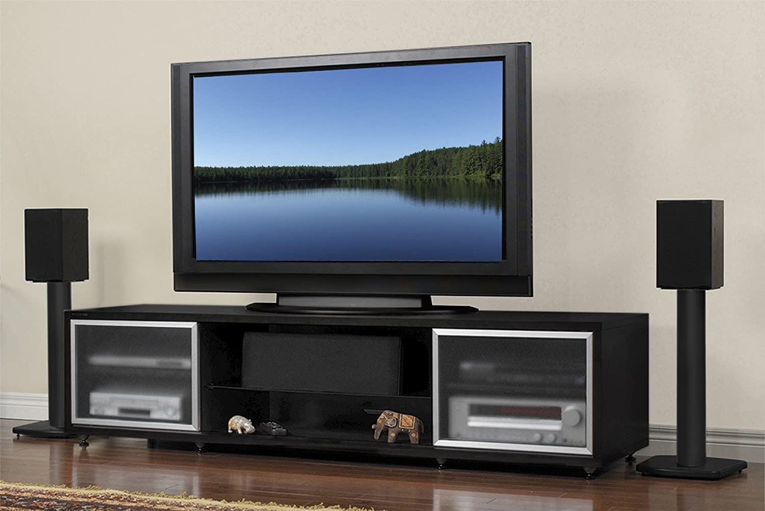 Tv Stands For Lcd Tvs Amazoncom Plateau Sr V 75 Eb S Wood 75 Tv Stand Espresso