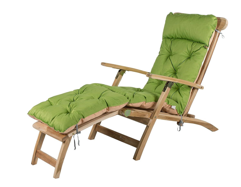 Meerweh Mare WEH Sedia a sdraio cuscino per sedia a sdraio, ca. 195x 49x 10cm, imbottitura cuscino, cuscino, Verde/Beige, 20072 MEERQ