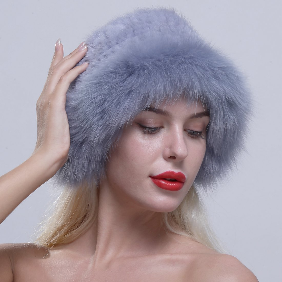 URSFUR Genuine Fox Fur Roller Hat with Knit Mink Top Sapphire by URSFUR (Image #6)