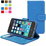 iPhone 5 / 5S Case, Snugg™ - Blue Leather Wallet Case and Stand with Card Slots & Soft Premium Nubuck Fibre Interior - Protective Apple iPhone 5 / 5S Flip Cover - Includes Lifetime Guarantee