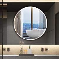 Seven Horses Frameless Round Bevelled Wall Mirror for Dressing,Bedroom,Bathroom, Living Room,Entrance and Makeup Mirror (18 inches X 18 inches Round)
