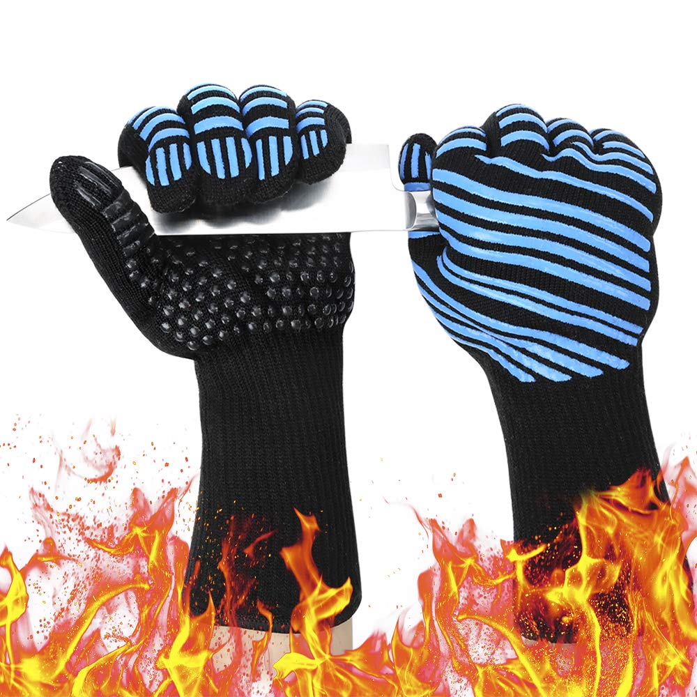 932℉ Extreme Heat Resistant BBQ Gloves, Food Grade Kitchen Oven Mitts - Flexible Oven Gloves, Silicone Non-Slip Cooking Hot Glove for Grilling, Baking (Blue, Palm Width 3.9 in) by Semboh