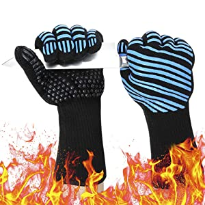 932℉ Extreme Heat Resistant BBQ Gloves, Food Grade Kitchen Oven Mitts - Flexible Oven Gloves, Silicone Non-slip Cooking Hot Glove for Grilling, Baking (Blue, Palm Width 3.8 in)