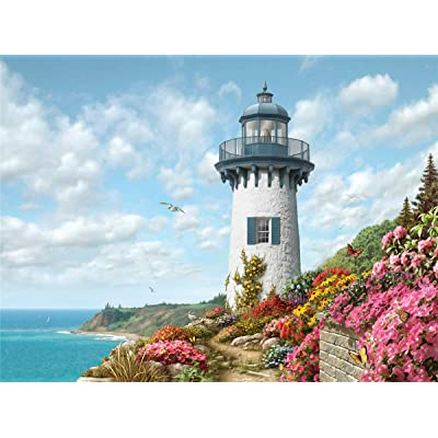 1000 Pieces Puzzles Thicken Cardboard Jigsaw Puzzles Floor Puzzle for Adults Kids Teen - Harbor Lighthouse: Toys & Games