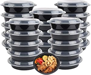30-Pack meal prep Plastic Microwavable Food Containers for meal prepping bowls with Lids (24 oz.) Black Reusable Storage Lunch Boxes -BPA-Free Food Grade -Freezer & Dishwasher Safe.