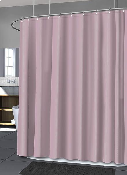Splash Home Fabric Microfiber Shower Curtain Liner With 12 Chrome Metal Roller Hooks Bathroom Showers Bathtubs