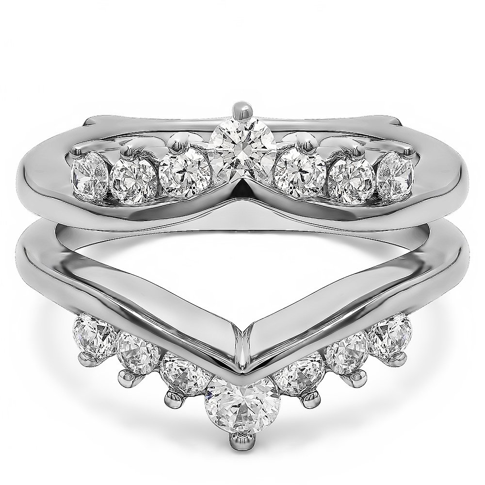 Sterling Silver Gorgeous Chevron Style Ring Guard Enhancer with Diamonds (G-H,I2-I3) (0.25 ct. tw.)