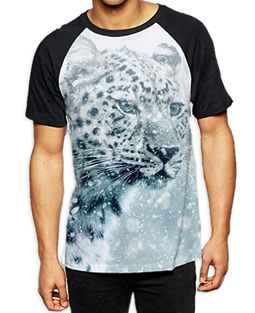 7d165c57b226 Tribal T-Shirts Leopard Face In Snow Men's All Over Graphic Contrast  Baseball T Shirt